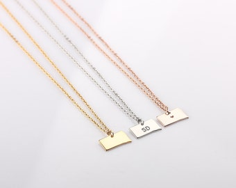 Tiny South Dakota Necklace - South Dakota Jewelry -  South Dakota Graduation Gift - Personalized State Charm - Small State