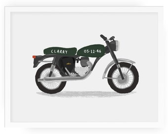 Motorbike personalised illustrated print -  kids room print motorbike print classic motorbike triumph motorbike children's print art nursery