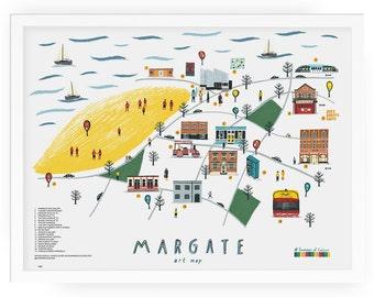 Margate art map print - margate illustration seaside beach margate art seaside illustration dreamland map illustration illustrated map