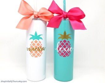 Personalized Pineapple Tumbler, 20oz Skinny Stainless Steel Cup, Monogram Pineapple Cup, Custom Pineapple Gifts, Gift for Her, Custom Gift