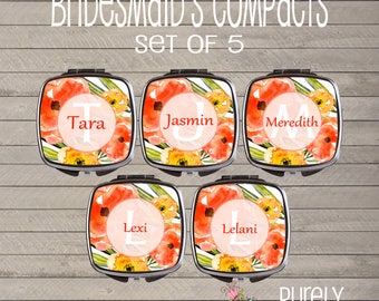 Watercolor flowers personalized Compact Mirror-Pocket Mirror - Bridesmaids Gift - Wedding Party - Teacher Gift