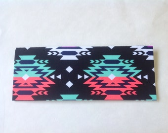 Coral and Mint Aztec Spandex Headband
