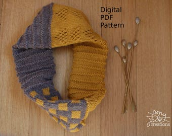 SquarTangle Cowl Knitting Pattern / Digital PDF Download / Cowl Pattern / Knitting Pattern