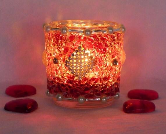 Windlicht rot silber tisch dekoration weihnachten von lonasart for Dekoration in rot