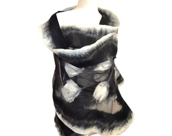Unique handmade silk shawl with Australian merino wool - Unique gift
