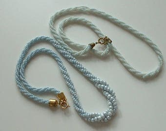Baby blue glass beaded necklaces