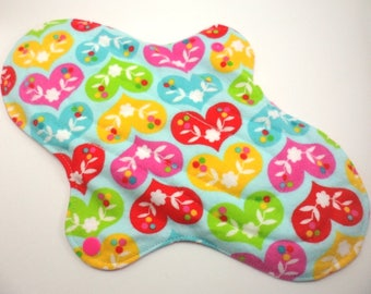 "Cloth pad heavy/night time 10.5"". Flannel,towelling,PUL.  Hearts on Blue print."