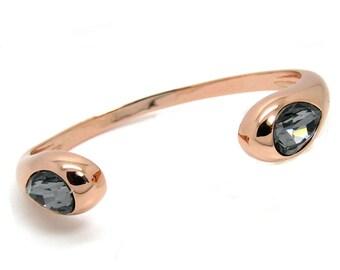 Crystal Drop Bangle Rose-Gold-plated Black Diamond made with Genuine SWAROVSKI Crystals®