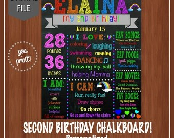 Rainbow Birthday Chalkboard - Second Birthday Chalkboard - Girl Birthday Party - Rainbow Themed Party - Rainbows - Colorful - Girl - 2nd