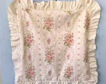 Euro Floral Print Sham, Shabby Chic Vintage-Style, Pink Flowers, Cream Background, Ruffle