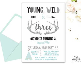 Young Wild and Three Invitation Printable, Boy Third Birthday Party, Wild One Invite, Girl Third Birthday, Custom Digital Birthday Invite