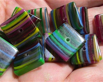 15 Vintage Acrylic Rainbow Square Beads