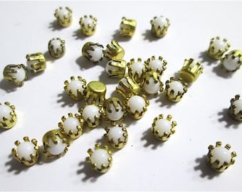 30 Vintage White Round Cabochons in Brass Fitting.
