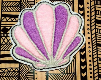 Scallop Sea Shell Iron On Patch - Hand Embroidered