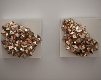 Geometric Golden Wall Sculpture on Canvas