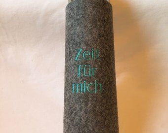 "Thermos with wool felt cover ""Time for me"""