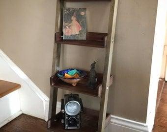 Rustic Wooden Ladder Shelf, Handmade Shelf, Rustic Decor, Tea Stained, Rustic Shelving, Homemade
