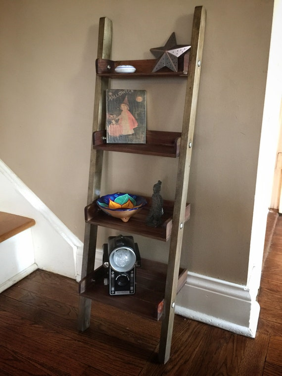 rustic wooden ladder shelf handmade shelf rustic decor tea. Black Bedroom Furniture Sets. Home Design Ideas