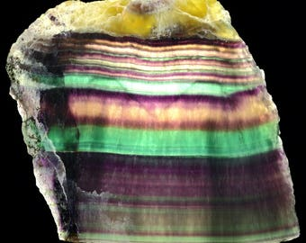Beautiful Fluorescent Rainbow Banded Fluorite Slab