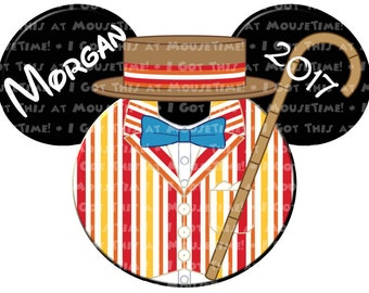 IRON-ON Bert (from Mary Poppins) Ears! - Mouse Ears Tshirt Transfer / Decal