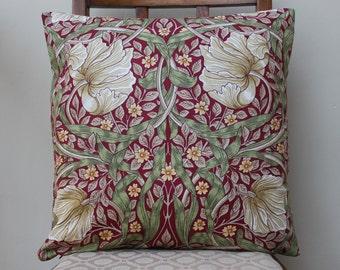 "William Morris Pimpernel Red Cushion 16"" x 16"" - Sanderson Fabric"