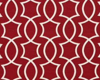 Red and White Intertwined Lattice Geometric Shapes Indoor Outdoor Upholstery Fabric By The Yard | Pattern # A278