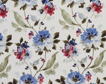 Indigo and Berry Flowers and Leaves Cotton Print Upholstery Fabric By The Yard | Pattern # B0308D