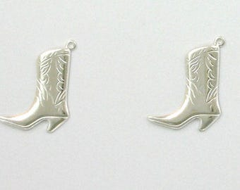 925 Sterling Silver Cowboy Boot Charms, Set of 2 - stc-SS114