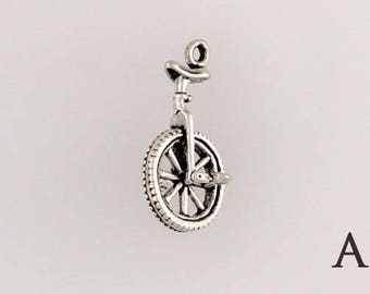 925 Sterling Silver Unicycle, Choice of  Charm, Necklace or Euro Adapter - sp148