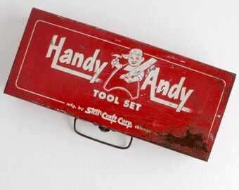 Vintage Handy Andy Box with Lid, Industrial Style Red Metal Box with Latch and Handle with Some Rust