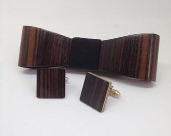 set Wooden Bow Tie - Cufflinks Ebony