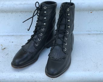 Justin Western Granny Roper Boots/Womens size 6.5/Black Leather/Removable Kiltie/Combat/Horseback Riding/Rockabilly/Lace Up/Work Wear