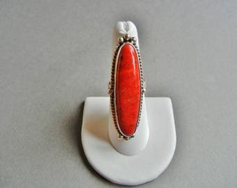 Adam Fiero Red Coral Sterling Ring, AF Sterling Ring, Red Coral Sterling Ring 8, Red Coral ring 9,  Red Coral adjustable ring, AF 925 ring