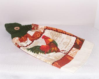 Crochet Rooster Hanging Towel Country Towel Topper Green Red Hand Towel Topper Housewarming Gift Father's Mother's Day Gift Rooster Towel