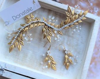 ON SALE  Gold Hair vine, Wedding hair piece, Bridal Headpiece, Leaf Laurel Hair vine Earring Boutonniere , Bridal  Hair Accessory- SAMANTHA