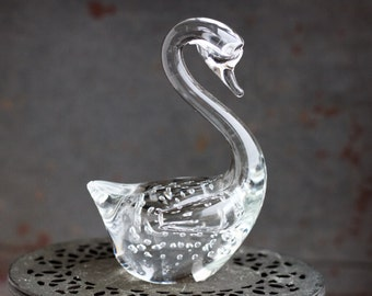 Clear Glass Swan Paperweight - Controlled Bubbles