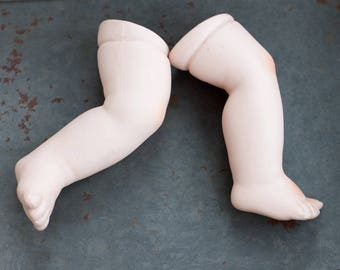 "Chubby Baby Legs - Porcelain Doll Legs 4.5"" - Bisque Doll Parts Feet - Doll Making Altered Arts"