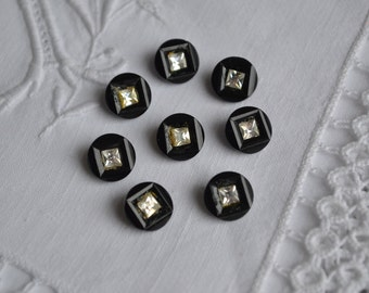 Black glass buttons x 8, 1930s with diamante detail