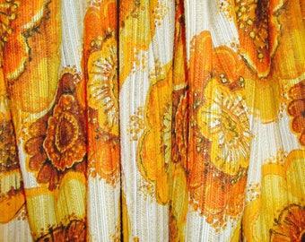 Vintage 1970's Orange Floral Curtains - 70 Length, 112 Width - Lovely!!!