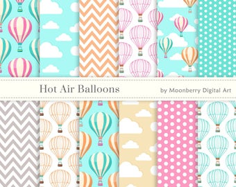 Hot Air Balloons Digital Papers. Hot air balloons. Chevron. Balloons Digital Paper. Cloud Digital Paper. Birthday Invitation. Commercial Use