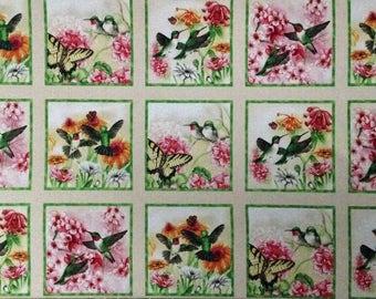 "Hummingbirds cotton panel -- approximately 23""x44"""
