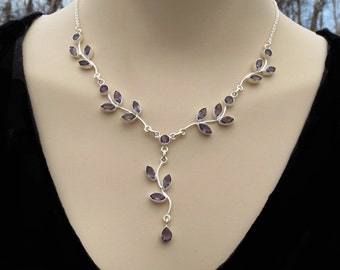 Beautiful Amethyst Silver Necklace, Purple Amethyst Jewelry, Gemstone Y Necklace, February Birthstone, Gift for Her