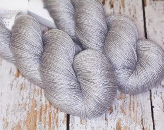Hand Dyed Silk BFL Fingering in silver gray