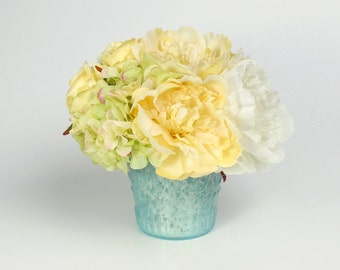 Pastel Flower Arrangement, Yellow Centerpiece, Teal Mercury Glass Vase, Silk Floral Decor, Hydrangea, Peony, Rose, Artificial Flowers