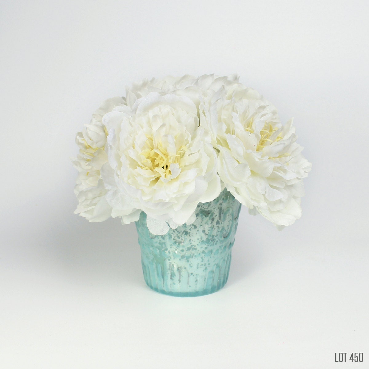 White Peony Centerpiece, Silk Flowers, Artificial Modern Boho Bohemian  Beach Decor, Floral Table