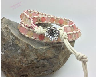 Watermelon Tourmaline Leather Wrapped Bracelet Watermelon Tourmaline Wrap Bracelet October Birthstone Watermelon Tourmaline Bracelet UK