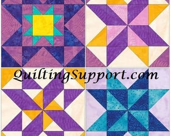 10 Inch Star Chain Set 2 Paper Foundation Piecing Quilting 4 Block Patterns PDF