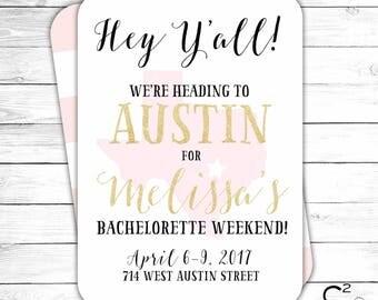 Texas Bachelorette Party Invitation   Dallas, Austin, Galveston