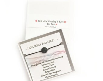 Lava Bracelet, Black bead, Men's Bracelet, Black Beads Bracelet, Men's Jewelry, Made in USA