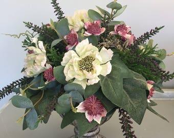Silk flower arrangement - summer arrangement - home decoration - bedside arrangement.